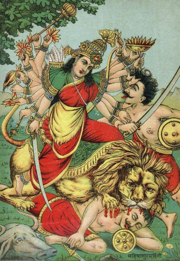 De godin Durga in gevecht met demonen