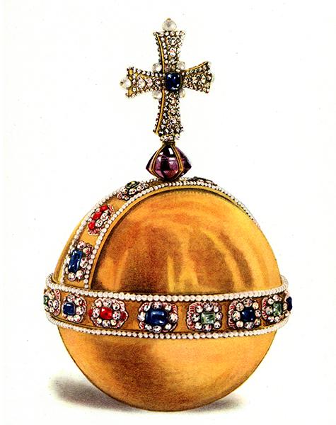 Een rijksappel (globus cruciger) uit circa 1879